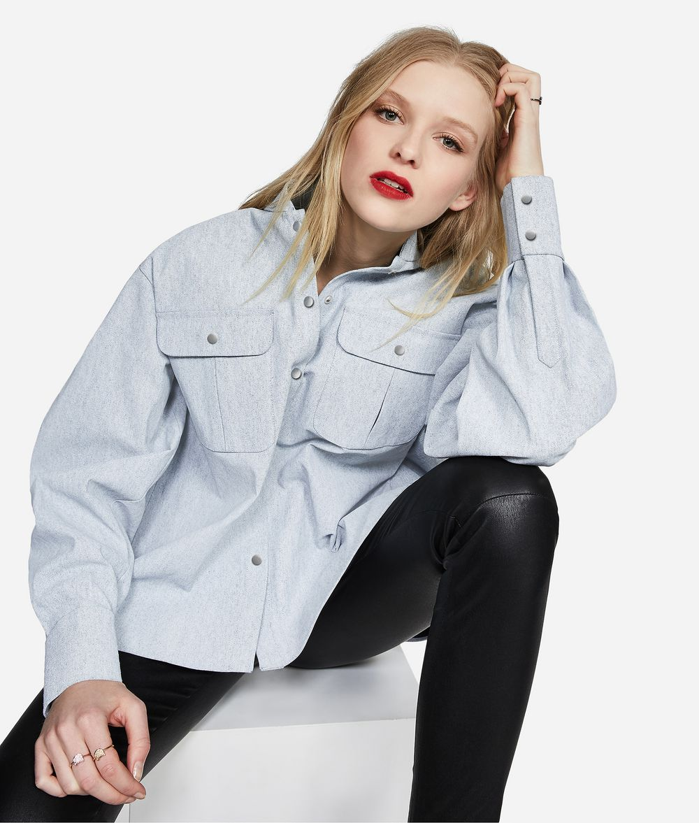 KARL LAGERFELD KARL Stand Collar Denim Shirt Blouse Woman f