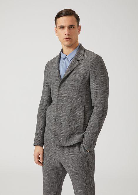 Single-breasted crinkle-effect wool jacket