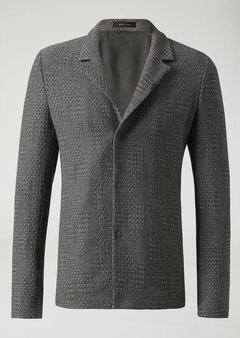 Chaqueta de botonadura sencilla de lana arrugada estampada