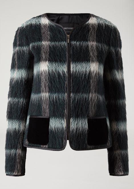 Jacket in patterned velour with velvet pockets