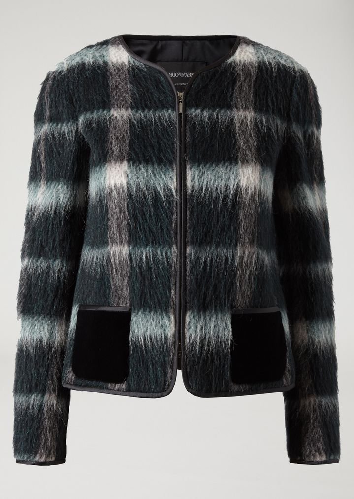 257e58a5c8 Jacket in patterned velour with velvet pockets | Woman | Emporio Armani