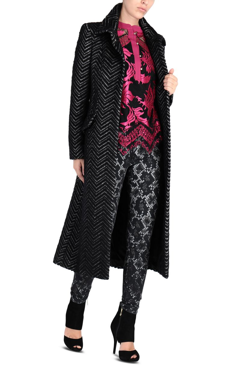JUST CAVALLI Geometric-detail coat Coat Woman r
