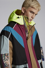 DSQUARED2 Mini-Check Hooded Parka With Neon Details Coat Man
