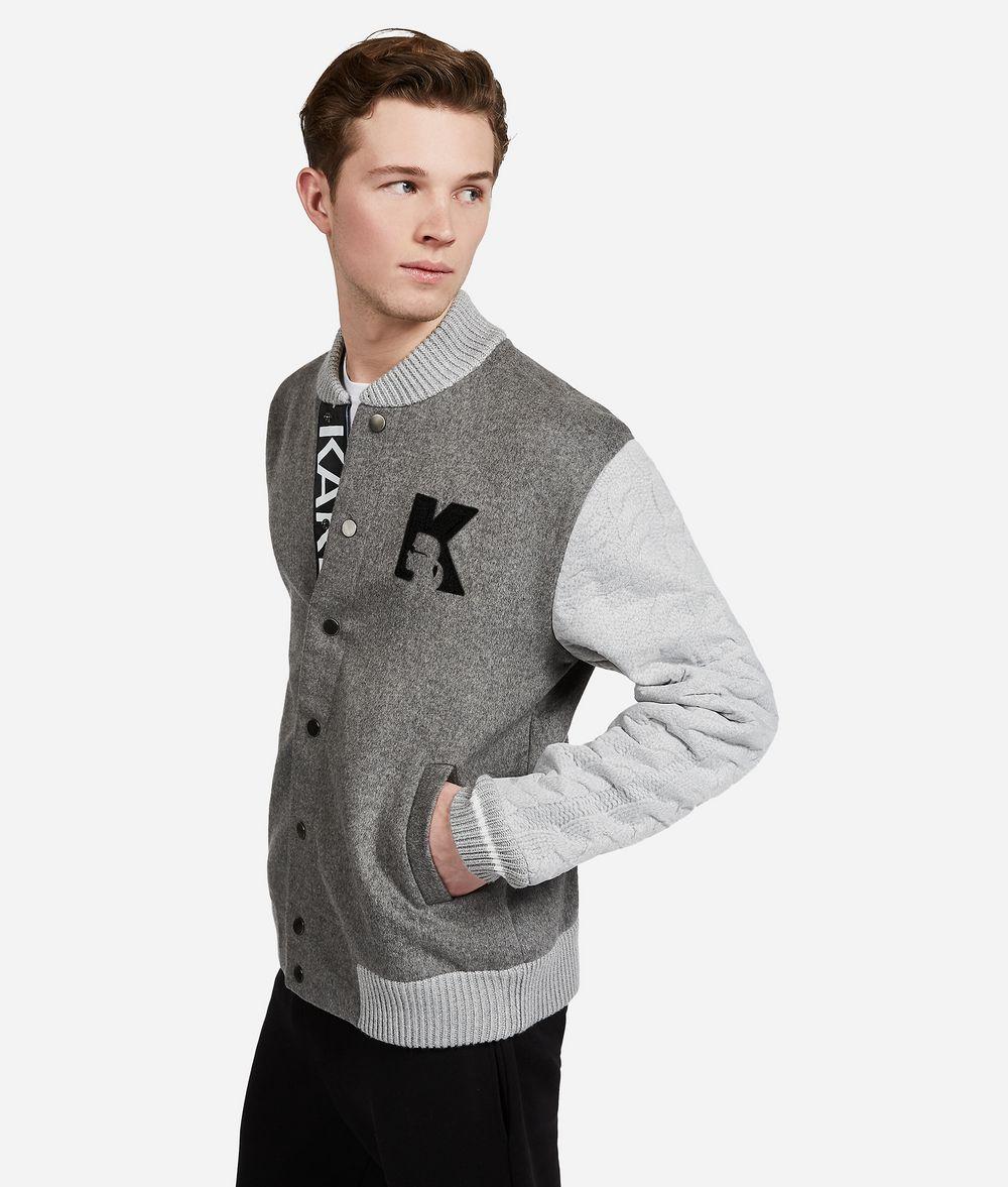 KARL LAGERFELD Wool Knit-Sleeve Jacket Jacket Man d