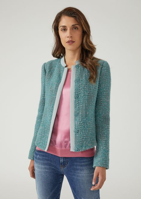 Jacket in bouclé wool with tone-on-tone ottoman trim