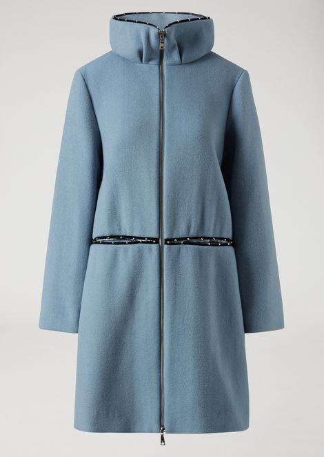 Double wool coat with velvet insert and small studs