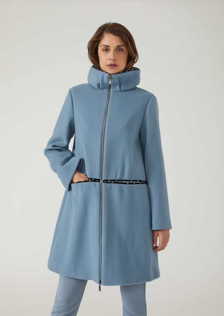 double wool coat with velvet insert and small studs woman