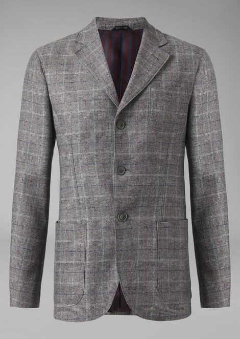 Single-breasted jacket in twill with Prince of Wales design