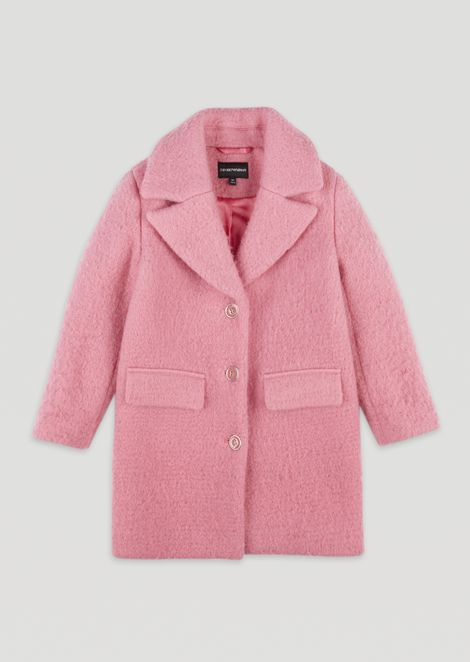 Coat in carded wool blend with buttons and pockets
