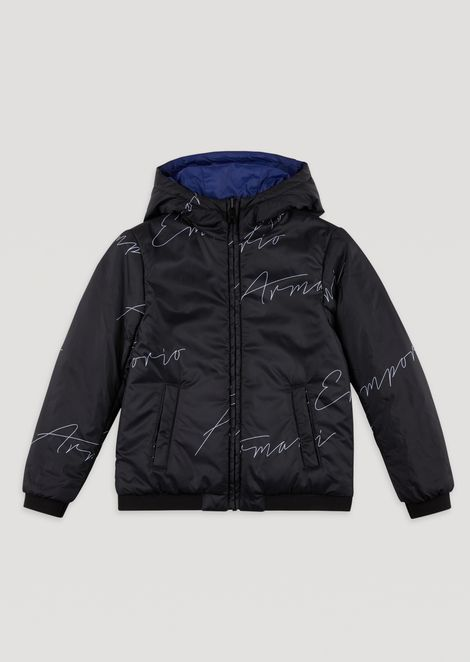 Jacket with hood and all-over Emporio Armani logo