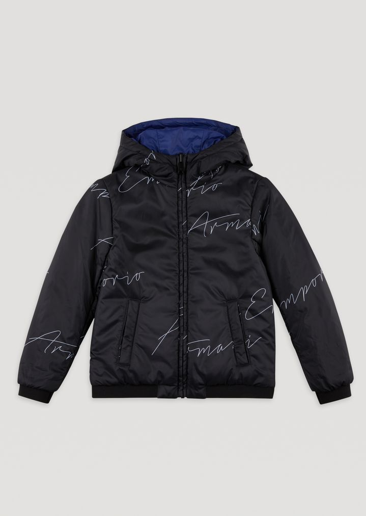 Jacket with hood and all-over Emporio Armani logo   Man   Emporio Armani ed9443c68ba