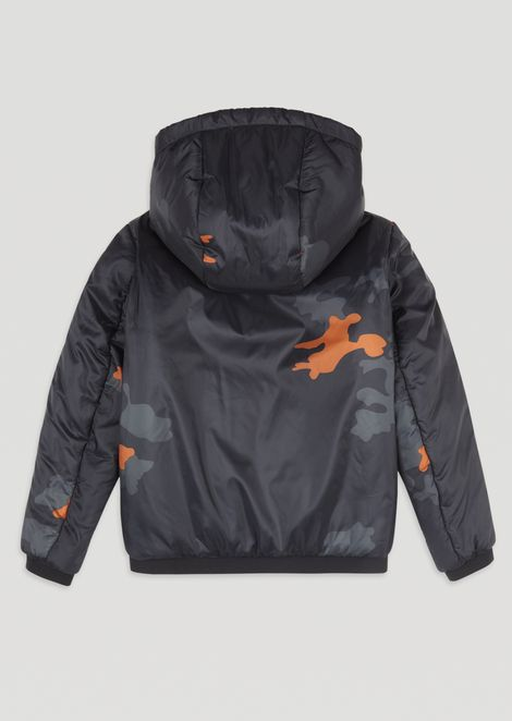 Jacket with hood and camouflage print