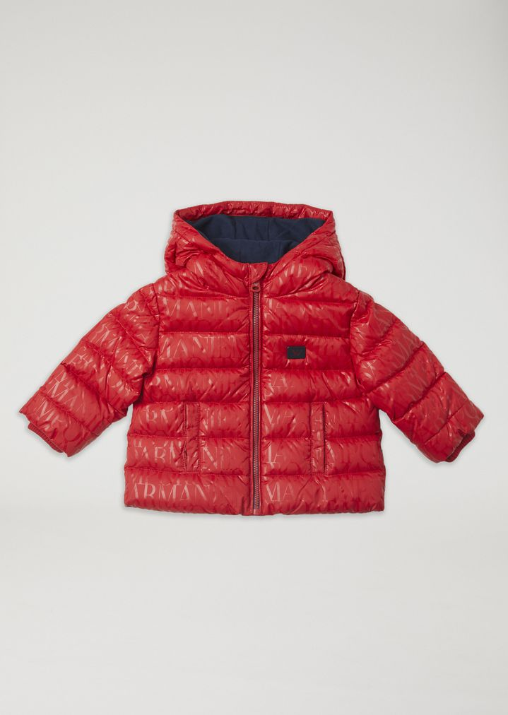 68133fcbec Padded jacket with all-over logo print and hood | Kid | Emporio Armani