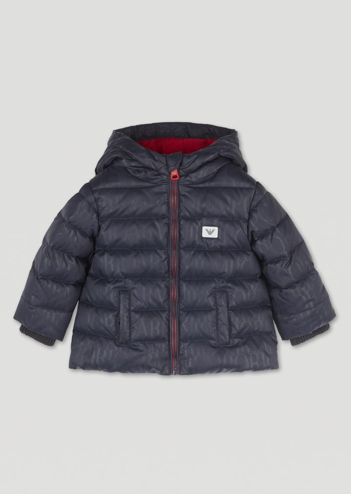 5aee74c0 Padded jacket with all-over logo print and hood | Kid | Emporio Armani
