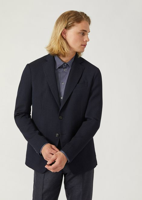 Single-breasted pure wool jacket with 3D pattern