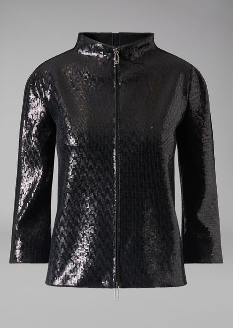Zip jacket covered in tone-on-tone sequins