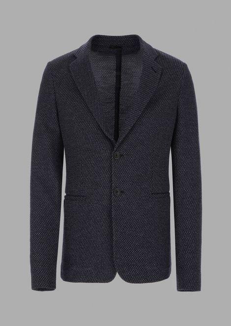 Comfort-fit single-breasted jacquard jacket