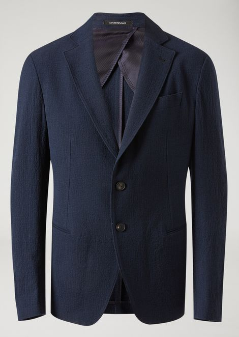 Single-breasted jacket in stretch wool seersucker
