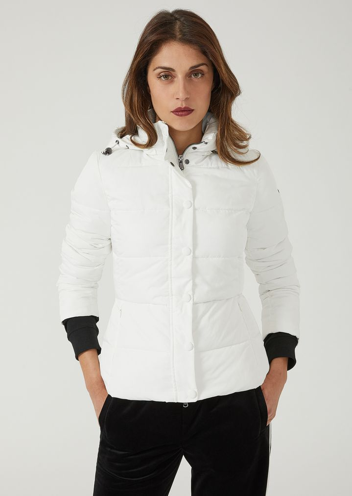43bf439b66 Quilted nylon twill jacket with hood | Woman | Emporio Armani