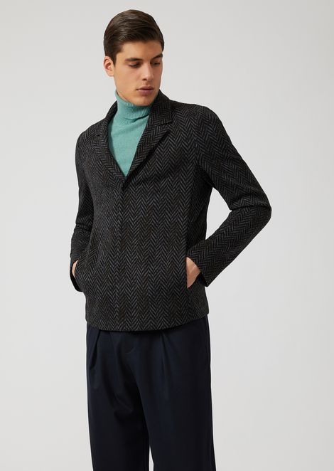 Jacquard wool blend single-breasted jacket with herringbone motif