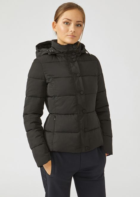 Quilted nylon twill jacket with hood
