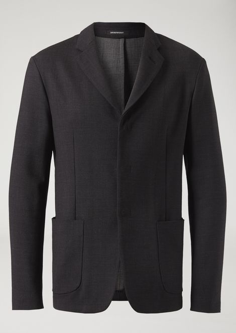 Single-breasted double-layered stretch fabric yarn-dyed jacket