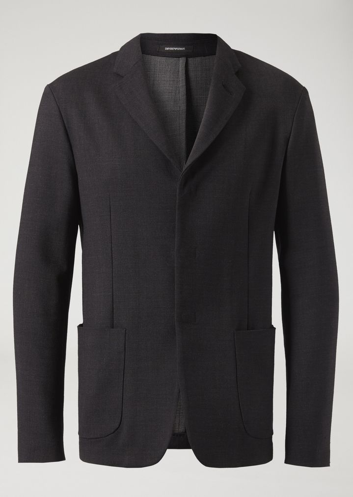 a91174132f Single-breasted double-layered stretch fabric yarn-dyed jacket | Man ...