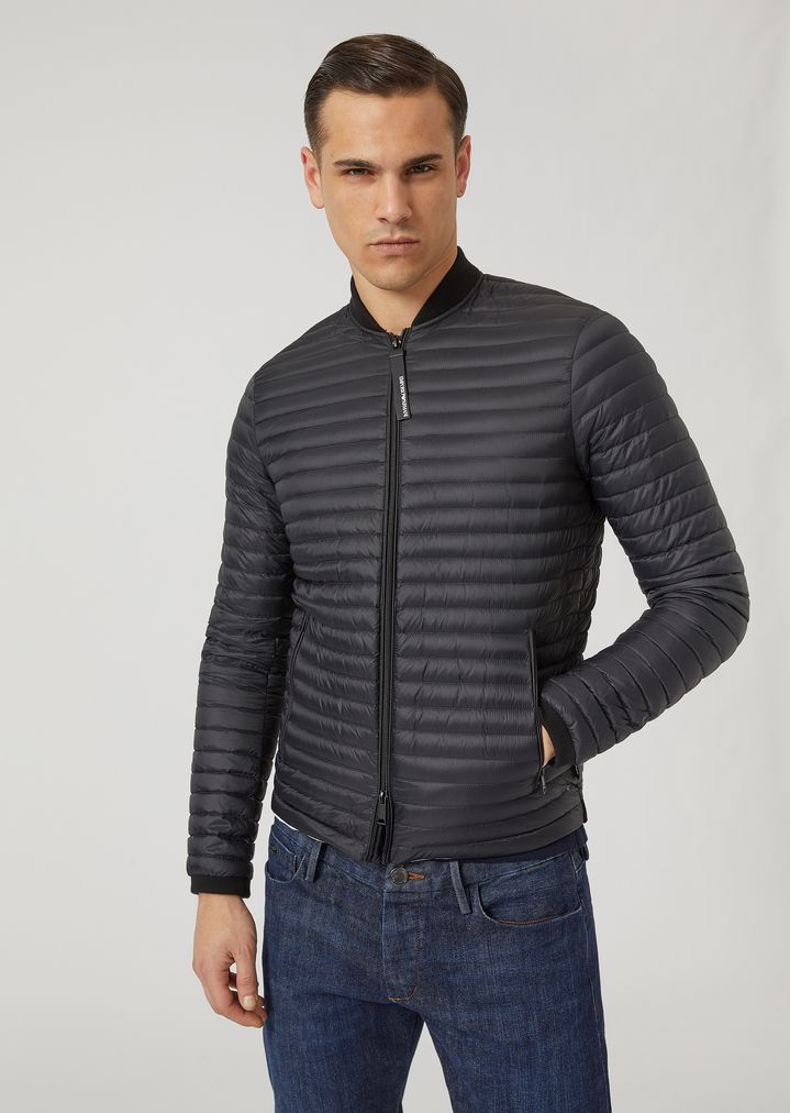 Glossy Nylon Quilted Down Jacket With Knit Inserts Man Emporio