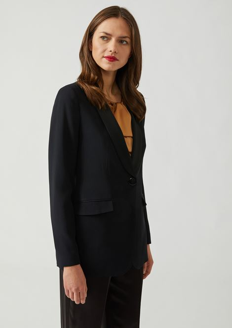 Single-breasted blazer in cady with matching satin lapels