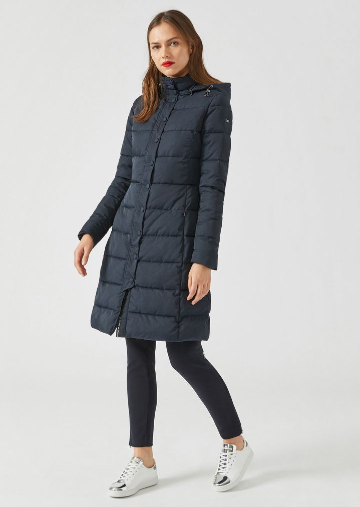 8ac22dc93be4d Long padded and quilted jacket with hood   Woman   Emporio Armani