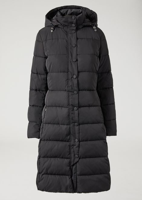 Long padded and quilted jacket with hood
