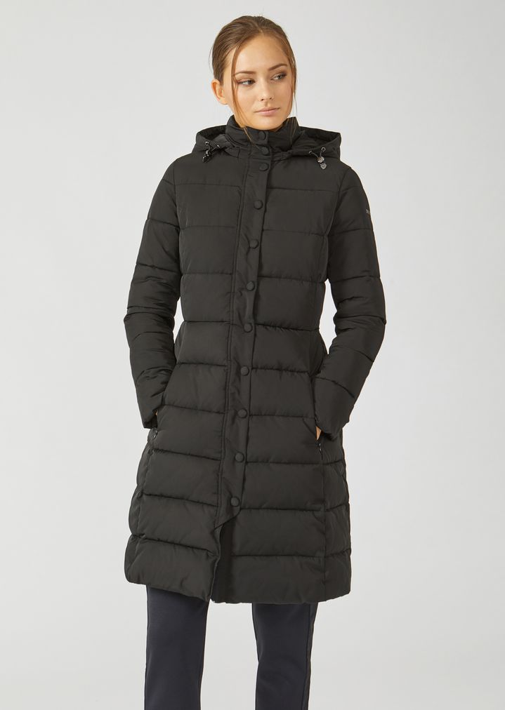 503a4a64 Long padded and quilted jacket with hood | Woman | Emporio Armani