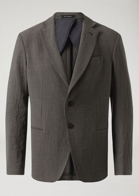 Two-button single-breasted stretch wool seersucker jacket