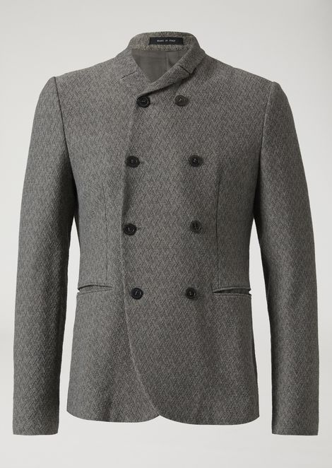 Double-breasted jacquard jacket with herringbone motif
