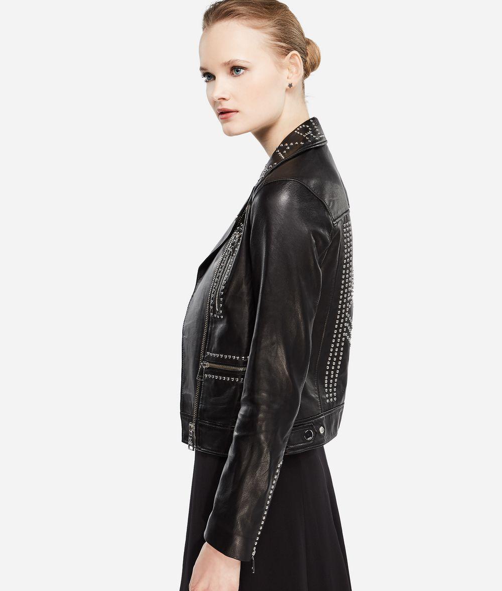 KARL LAGERFELD Karl X Kaia Stud Leather Biker Jacket Woman d