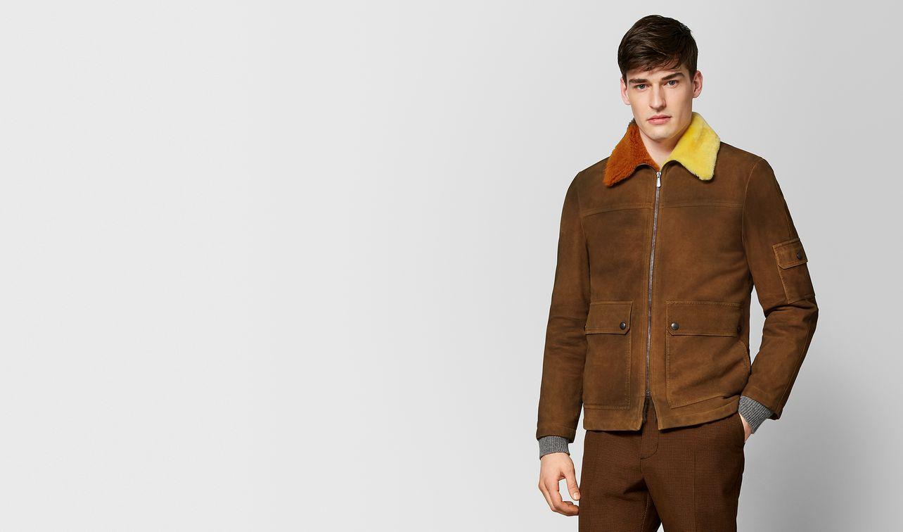jacke aus shearling in dark leather landing