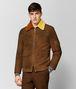 jacke aus shearling in dark leather Porträt, Vorderseite