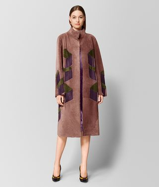MULTICOLOR INTARSIA SHEARLING COAT