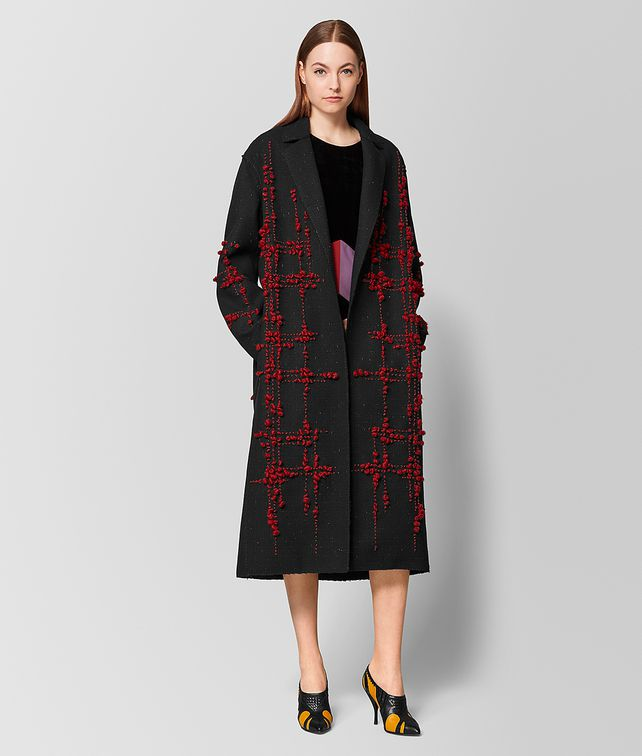 BOTTEGA VENETA NERO/BACCARA ROSE WOOL COAT Outerwear and Jacket [*** pickupInStoreShipping_info ***] fp