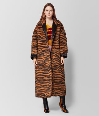 ORANGE/NERO WOOL/SATIN COAT