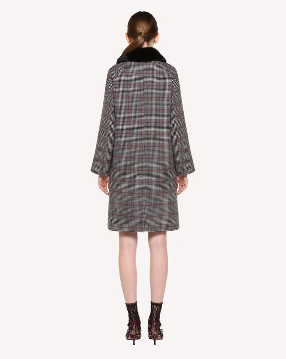 REDValentino Double Prince of Wales coat with mink collar