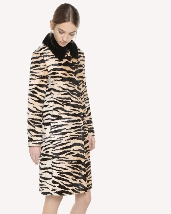 REDValentino Tiger printed Fur coat