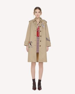 REDValentino Enchanted Reptiles and Birds Gabardine embroidered trench coat