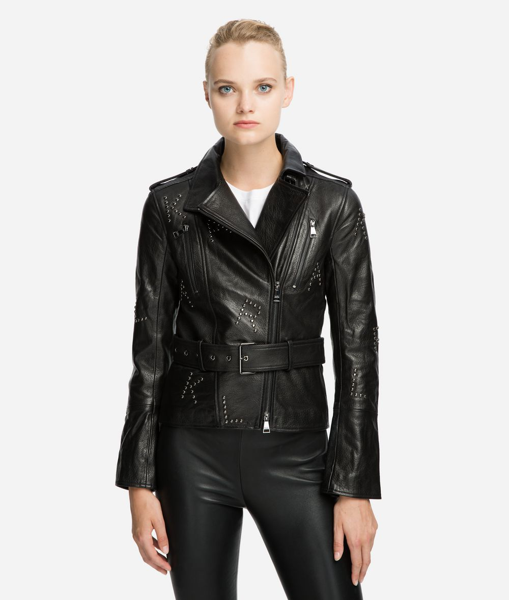 KARL LAGERFELD Studded Leather Biker Jacket Jacket Woman f