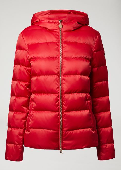 Windproof technical fabric jacket with down padding