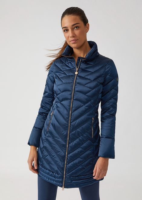 Long windproof technical fabric jacket with down padding