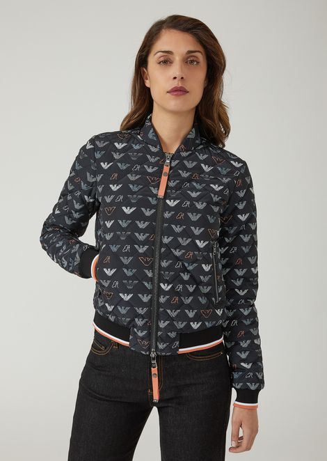 Padded blouson with all-over logo pattern
