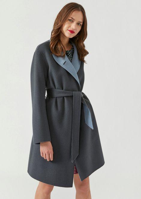 Manteau bicolore en laine et cachemire avec ceinture 1dabdabfcaf