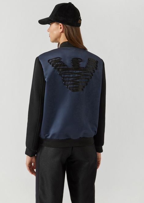 Satin bomber jacket with eagle embroidered on the back