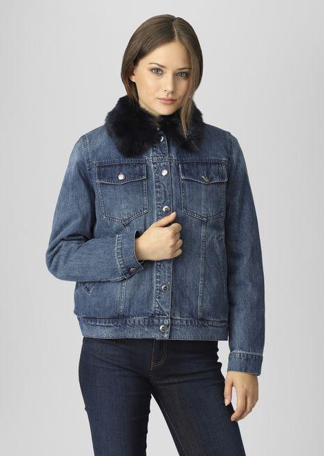 Denim jacket with detachable faux-fur collar